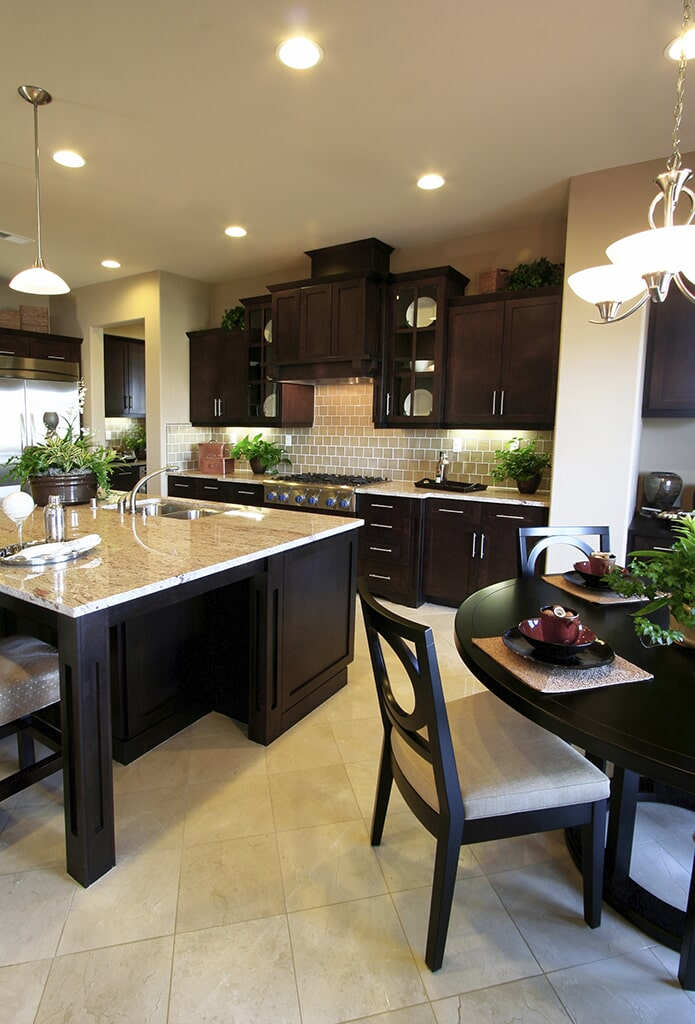 Tile Kitchen with Dark Cabinets from Schmidt Custom Floors in Fort Collins, CO