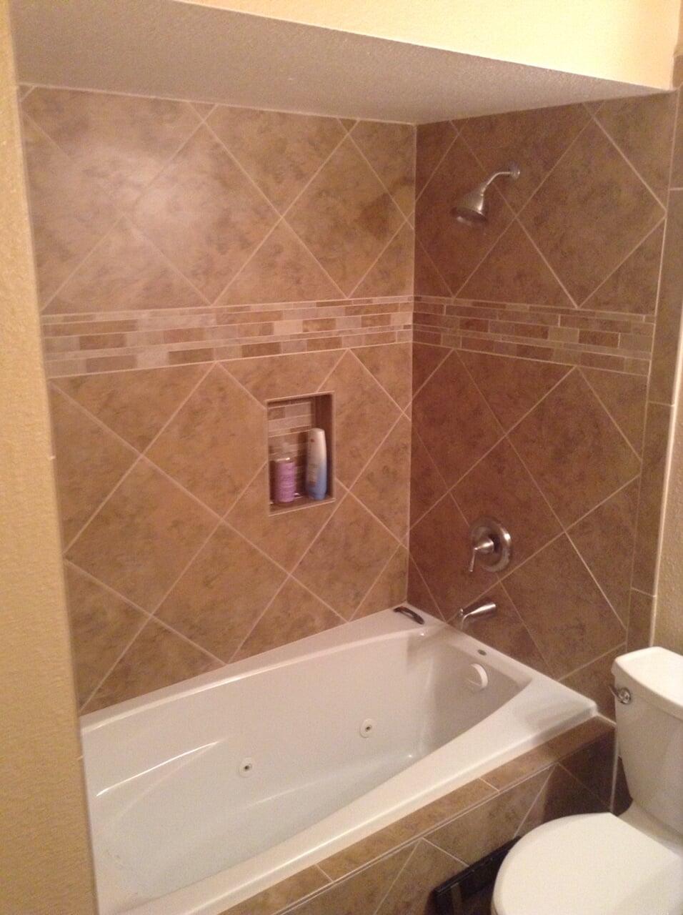Classic tile shower installation in Phoenix, AZ from Cornerstone Flooring Brokers