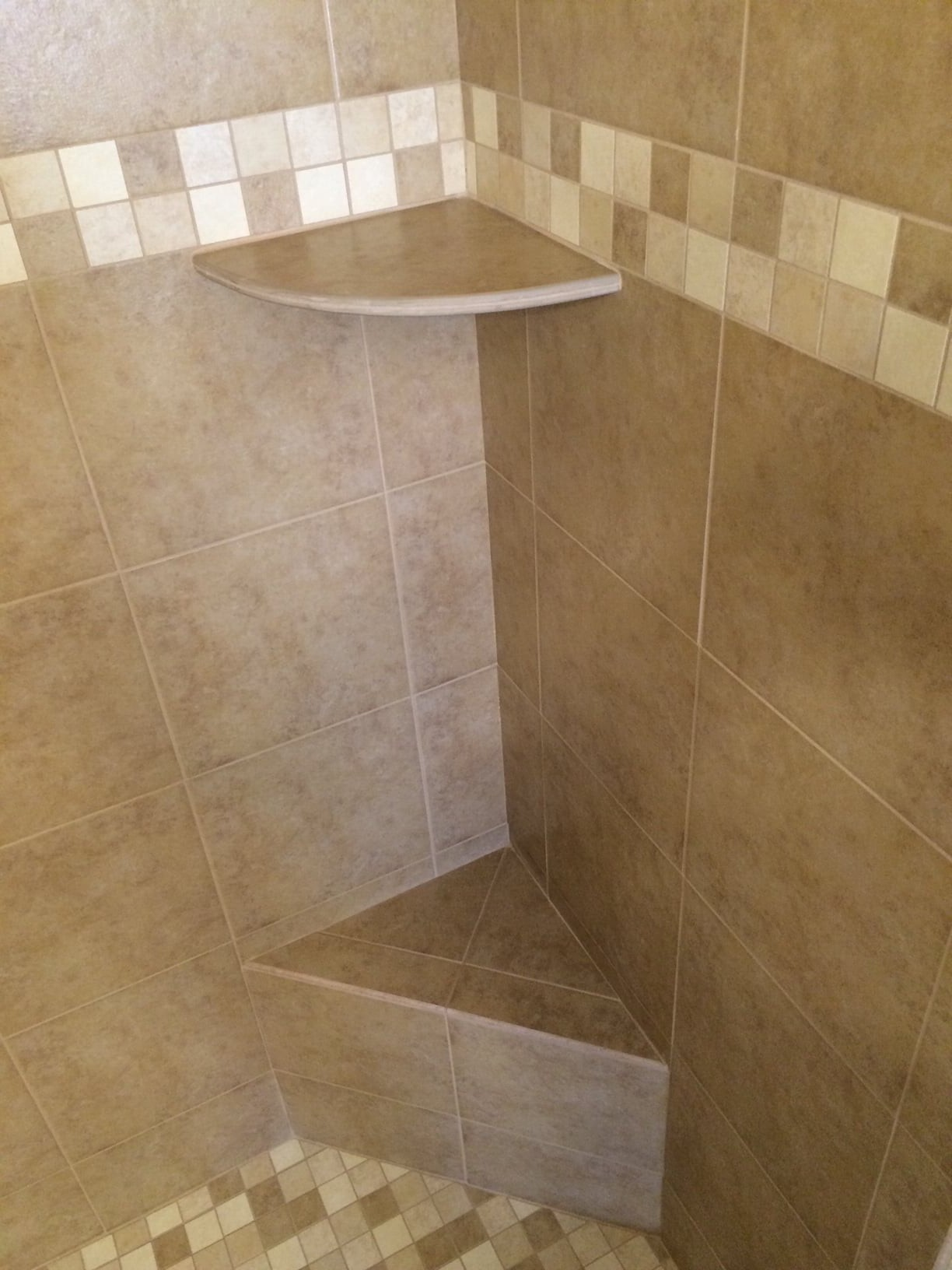 Shower with custom built in bench and shelf in Peoria, AZ