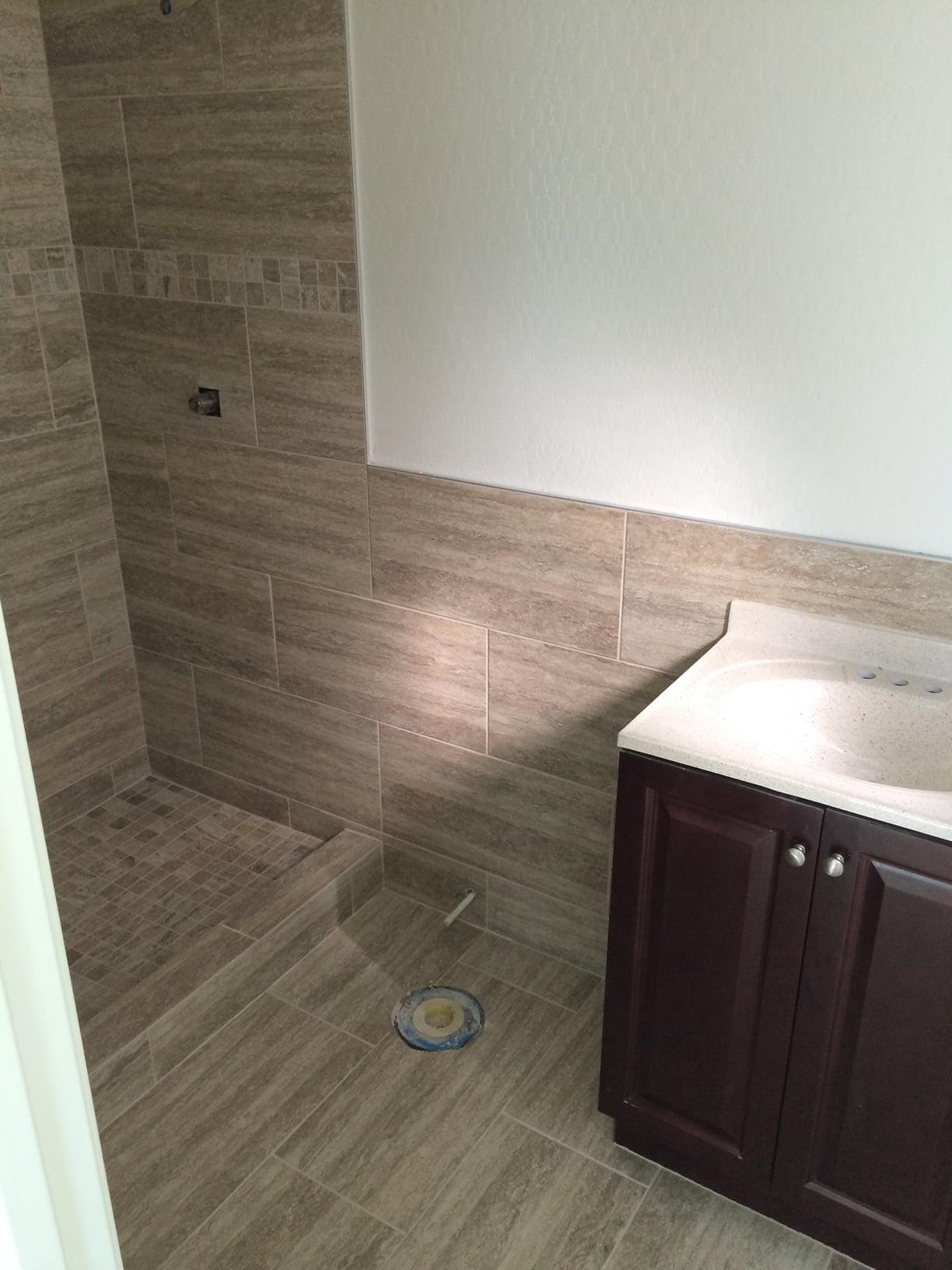 Custom tile bathroom installation in Sun City, AZ from Cornerstone Flooring Brokers