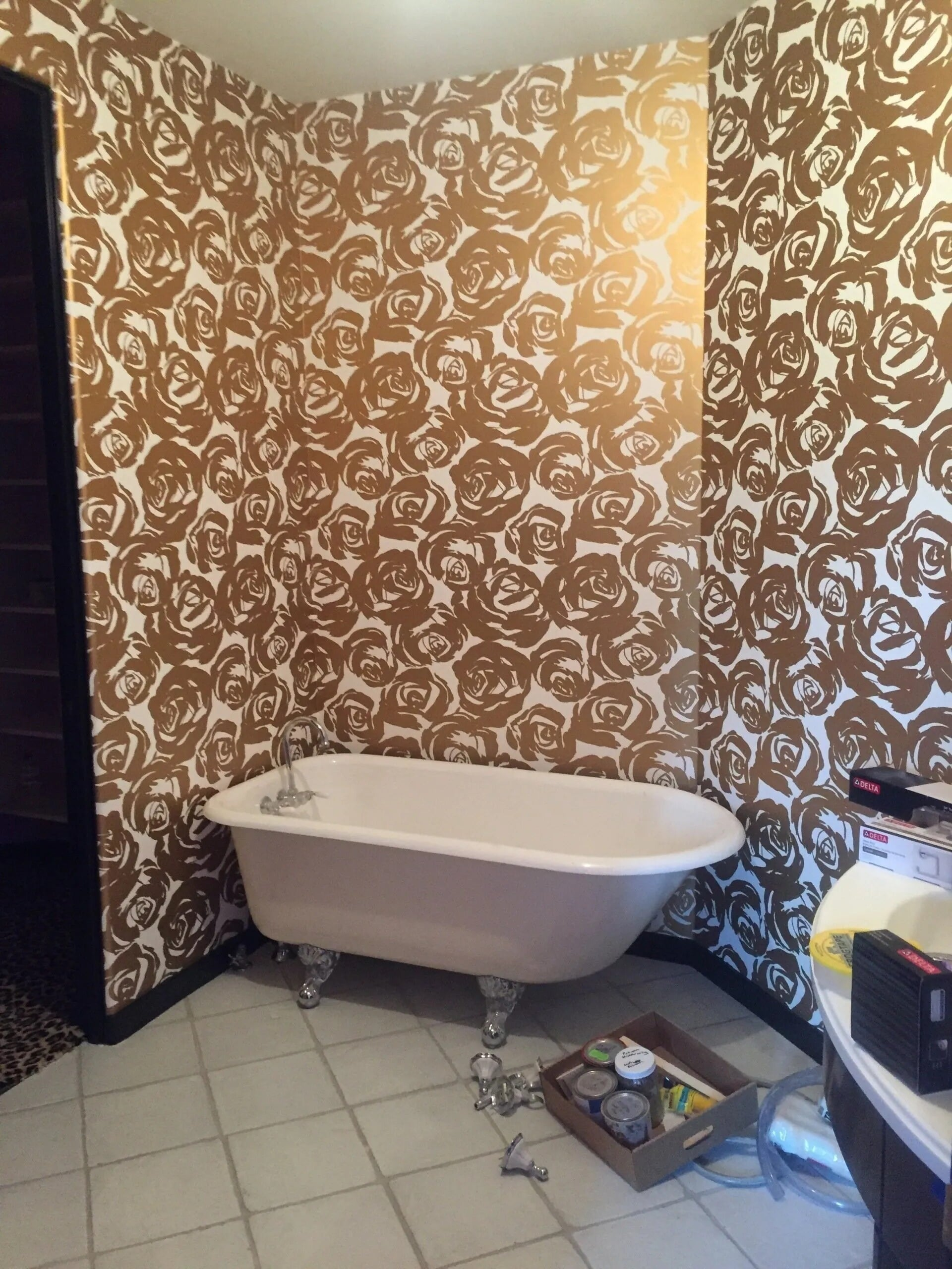 Custom rose wall design around soaking tub in Lakeville, MN