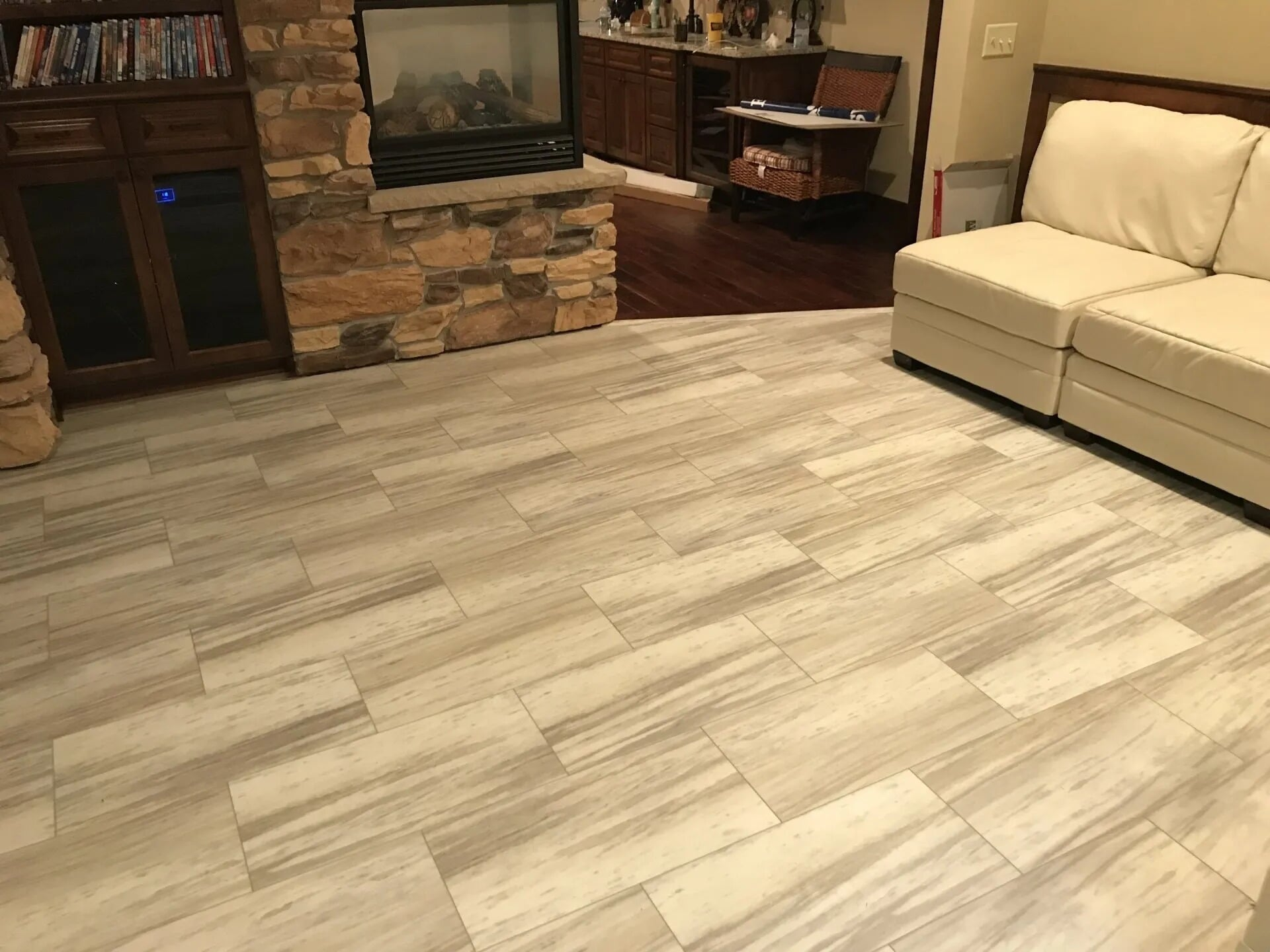 Vinyl tile living room flooring in Prior Lake, MN from Infinite Floors and More