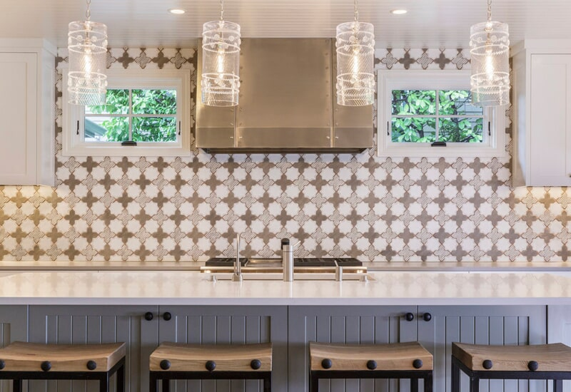 Geometric tile backsplash in Portland, OR from All Surfaces
