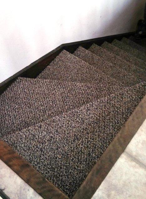 Stairs carpeted in berber in Berlin NH from ADF Flooring LLC