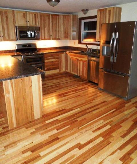 Natural hickory hardwood floors & cabinets in Canterbury NH