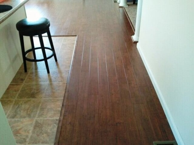 Tile to hardwood installation in Plymouth, NH from ADF Flooring LLC
