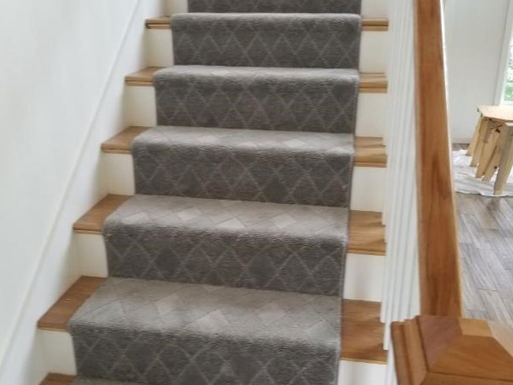 Patterned carpet stair runner in Nashua, NH from ADF Flooring LLC