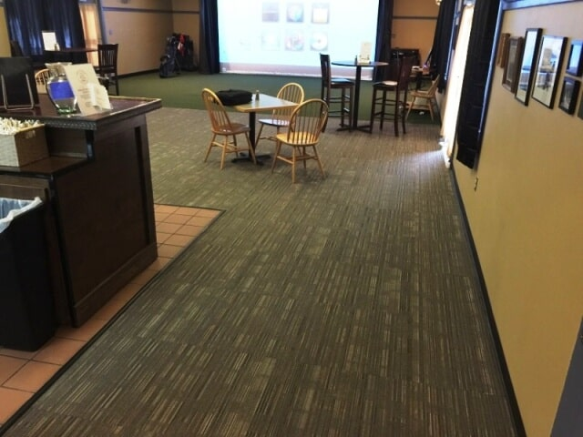 Classic commercial carpet in a local restaurant in Manchester, NH from ADF Flooring LLC