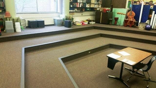 Tiered carpet flooring installation in Berlin, NH from ADF Flooring LLC