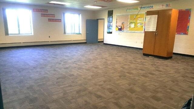Classroom carpet flooring installation in Manchester, NH from ADF Flooring LLC