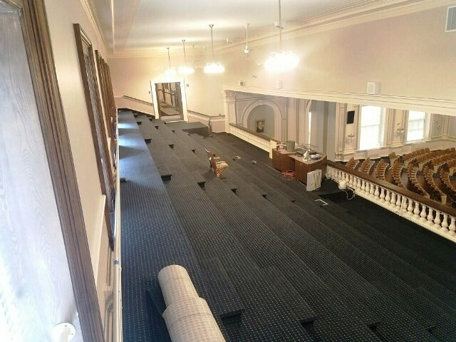 Carpeted commercial stairway in Nashua, NH from ADF Flooring LLC