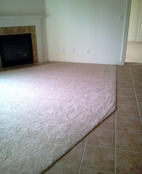 Commercial carpet and tile transition in Plymouth, NH from ADF Flooring LLC