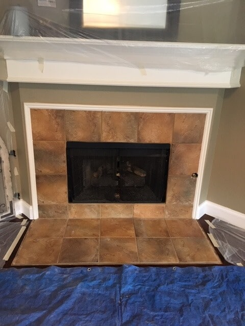 Tile fireplace from StarFloors in Dallas, TX