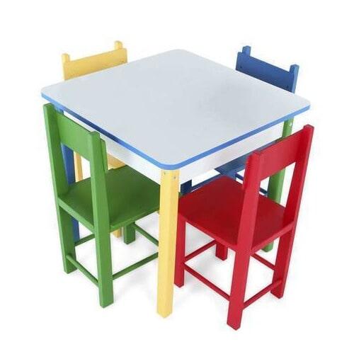 Conjunto de Mesa Quadrada com 4 Cadeiras - Colorido