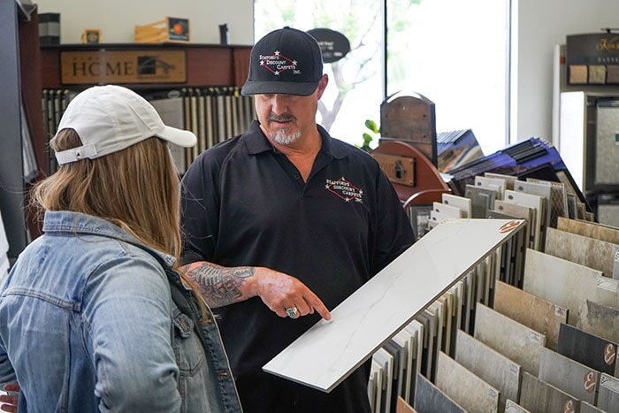 One of our flooring professionals providing great customer service in our Redlands, CA showroom