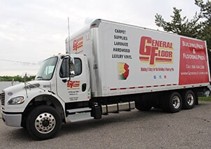 "General Floor delivery truck ready to ""Make It Easy"" for building and flooring pro's"