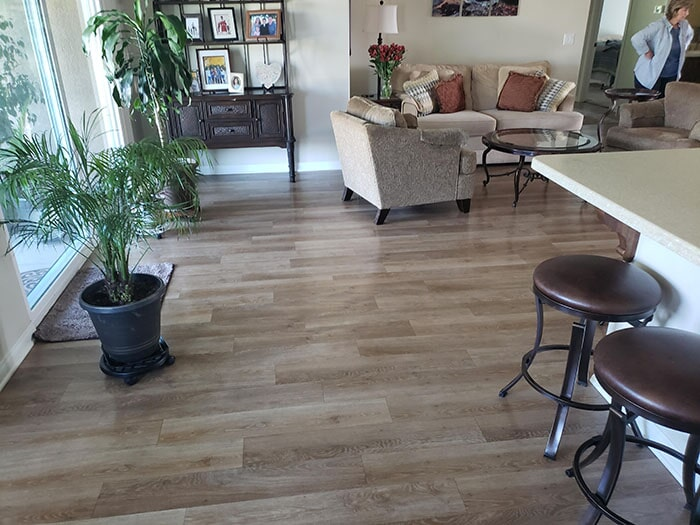 Wood look flooring installation in Highland, CA from Stafford's Discount Carpets