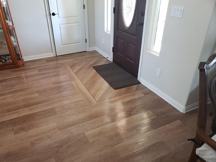 Custom design hardwood plank installation in Beaumont, CA from Stafford's Discount Carpets