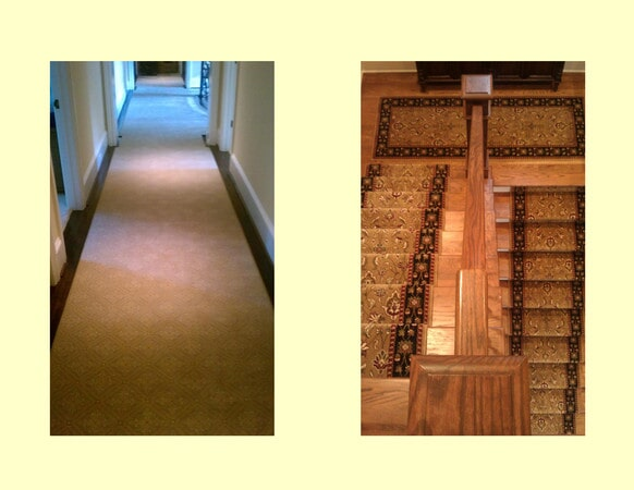 Ornate carpet flooring and stairs in Charlotte, NC from Hall's Flooring