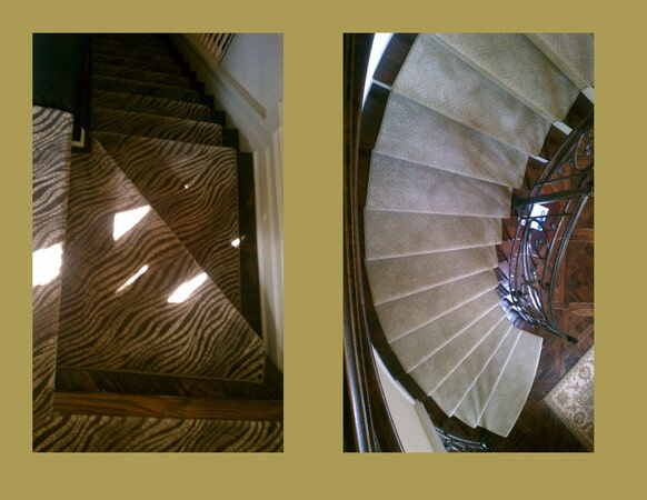 Custom fit carpeted stairs in Huntersville, NC from Hall's Flooring