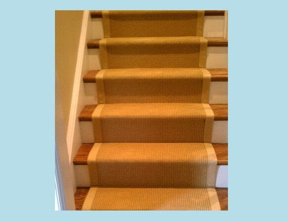 Textured carpet stairway runner in Matthews, NC from Hall's Flooring