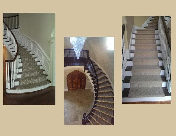 Modern stairway carpet runners in Huntersville, NC from Hall's Flooring
