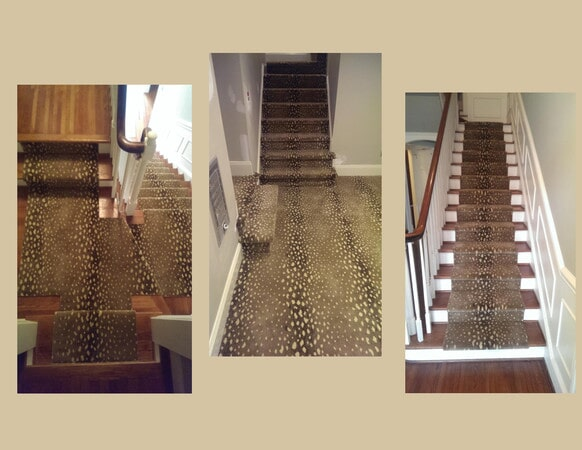 Beautiful carpet stair runners and landing in Matthews, NC from Hall's Flooring