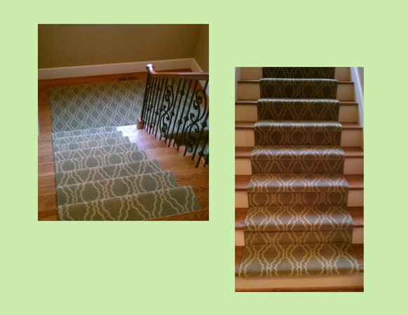 Patterned carpet stair runners in Charlotte, NC from Hall's Flooring