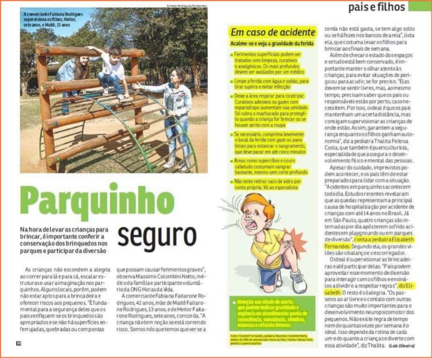 Dicas de Como Brincar de Forma Segura nos Parquinhos - Revista da Hora, julho de 2016