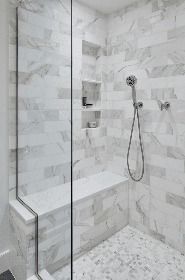 Marble tile shower in Sherwood, OR from All Surfaces