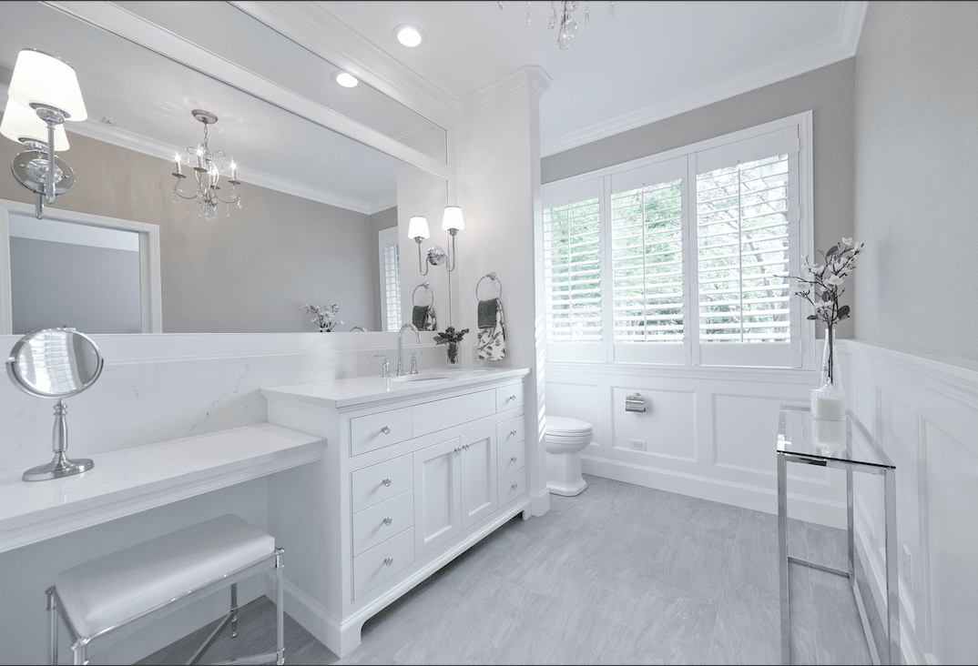 White bathroom renovation in Portland, OR from All Surfaces