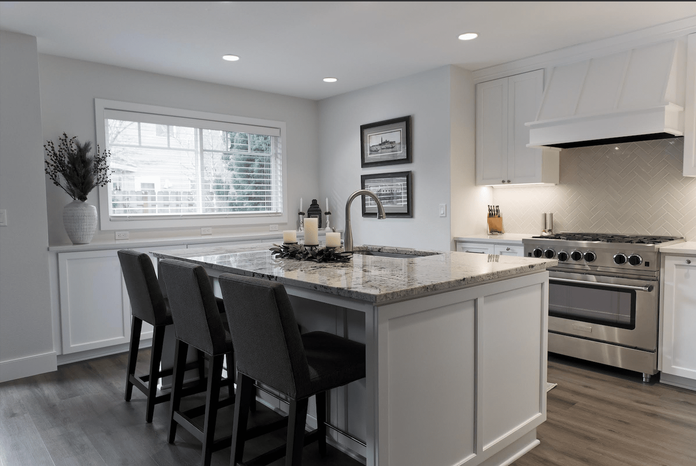 Modern white kitchen in Beaverton, OR from All Surfaces