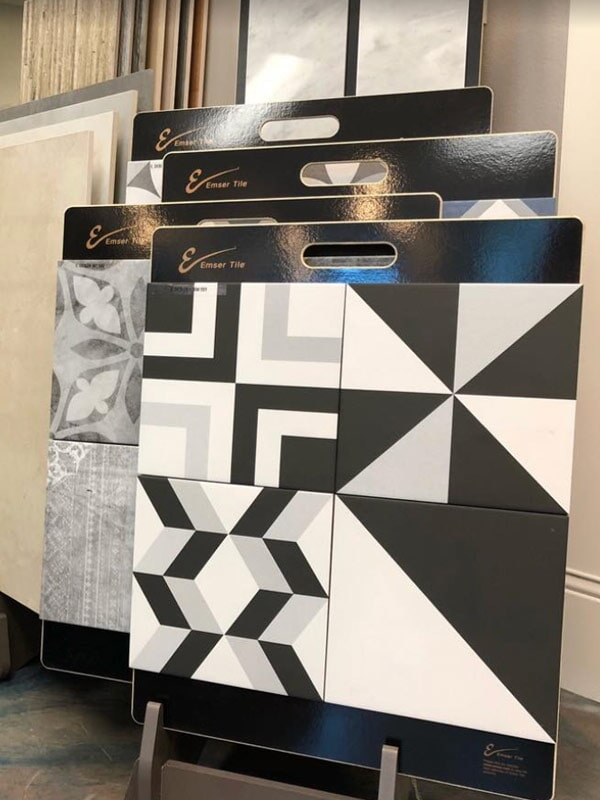 Emser Tile black and white designs for your Highland, CA home from Simple Touch Interior Solutions
