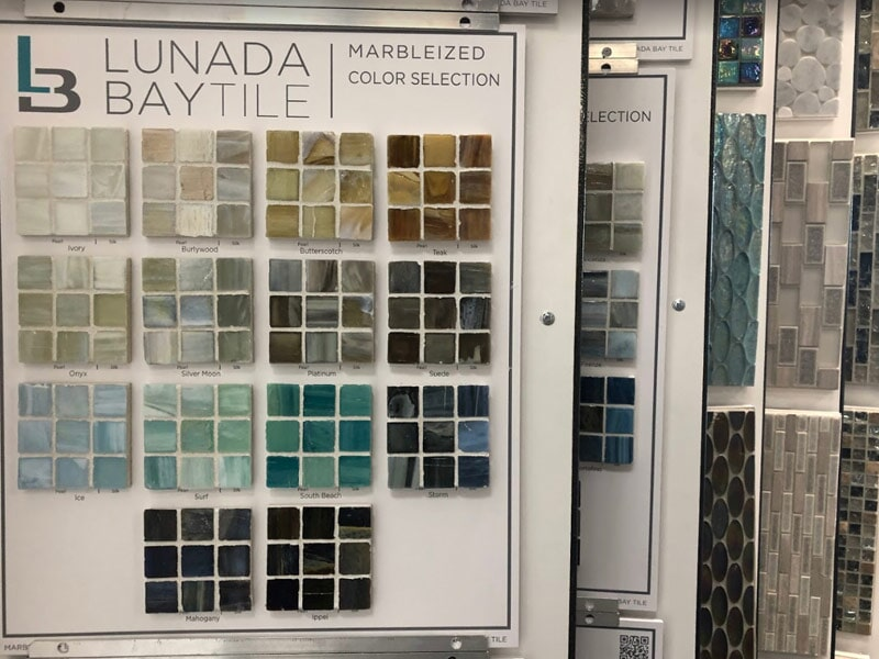 Marbleized glass tiles for your San Bernardino, CA home from Simple Touch Interior Solutions