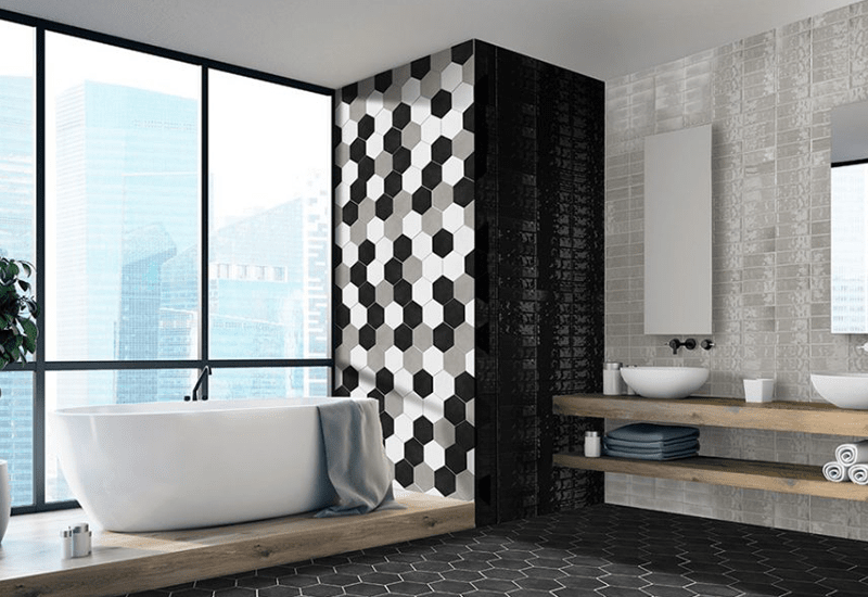 Hexagonal tile accents in Yucaipa, CA from Simple Touch Interior Solutions