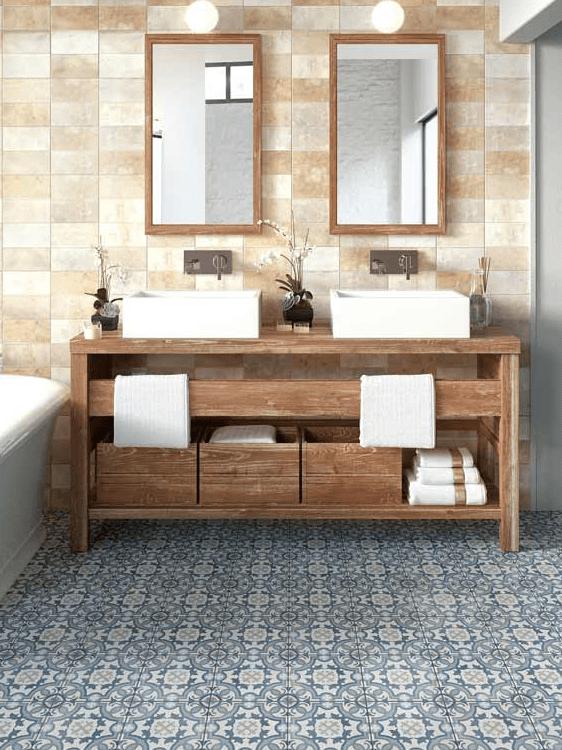 Mosaic tile bathroom flooring in San Bernardino, CA from Simple Touch Interior Solutions