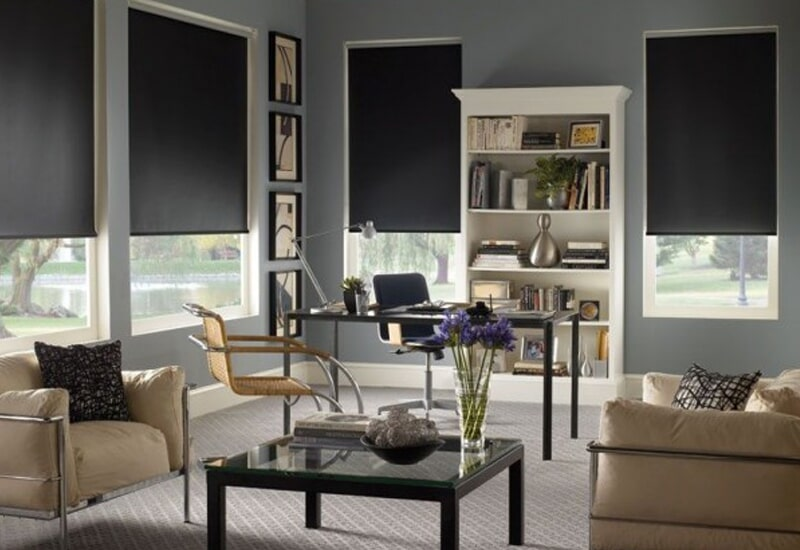 Black window shades in Yucaipa, CA from Simple Touch Interior Solutions