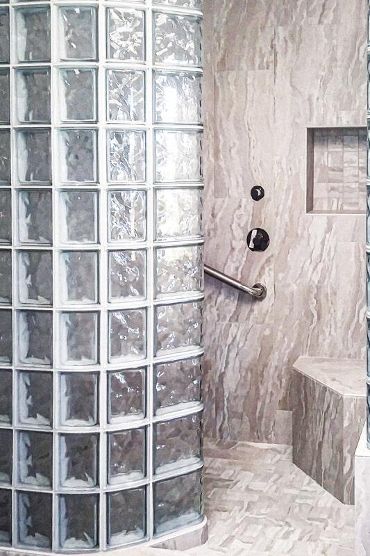 Glass shower tile from Strait Floors in