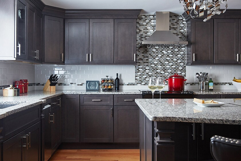 Dark tone Fabuwood Kitchen Cabinetry in Sugar Land, TX from Floor Inspirations