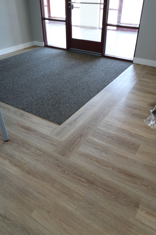 vinyl plank with walk off tile carpet - casper