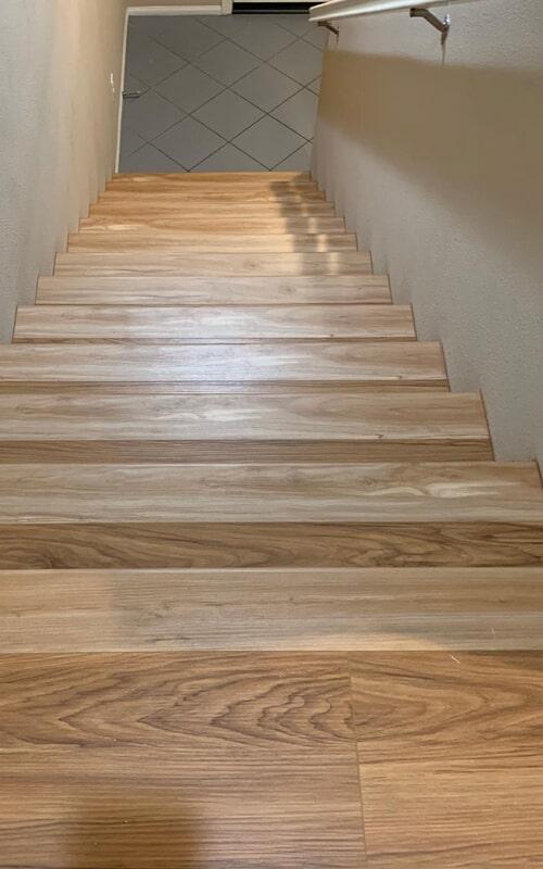 Wood stair installation in Norwalk, CA from Triple A Flooring Inc