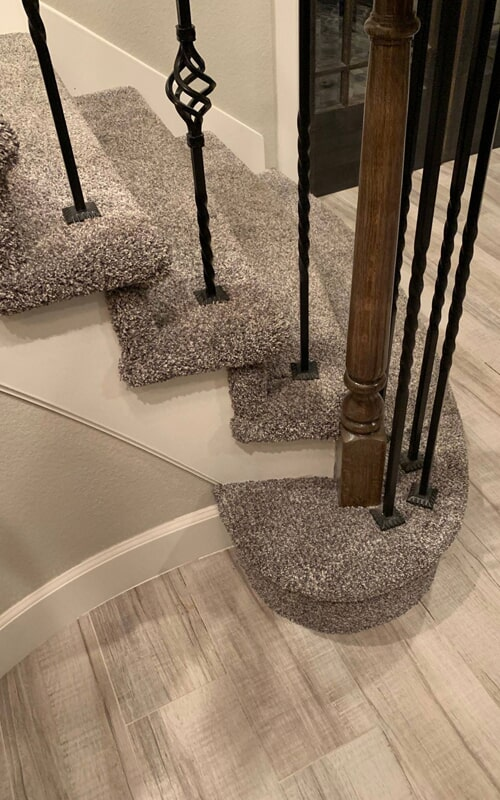 Modern carpeted stairs in Brea, CA from Triple A Flooring Inc