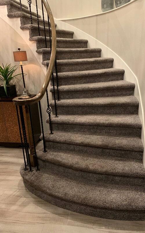 Custom carpet stairway in Brea, CA from Triple A Flooring Inc