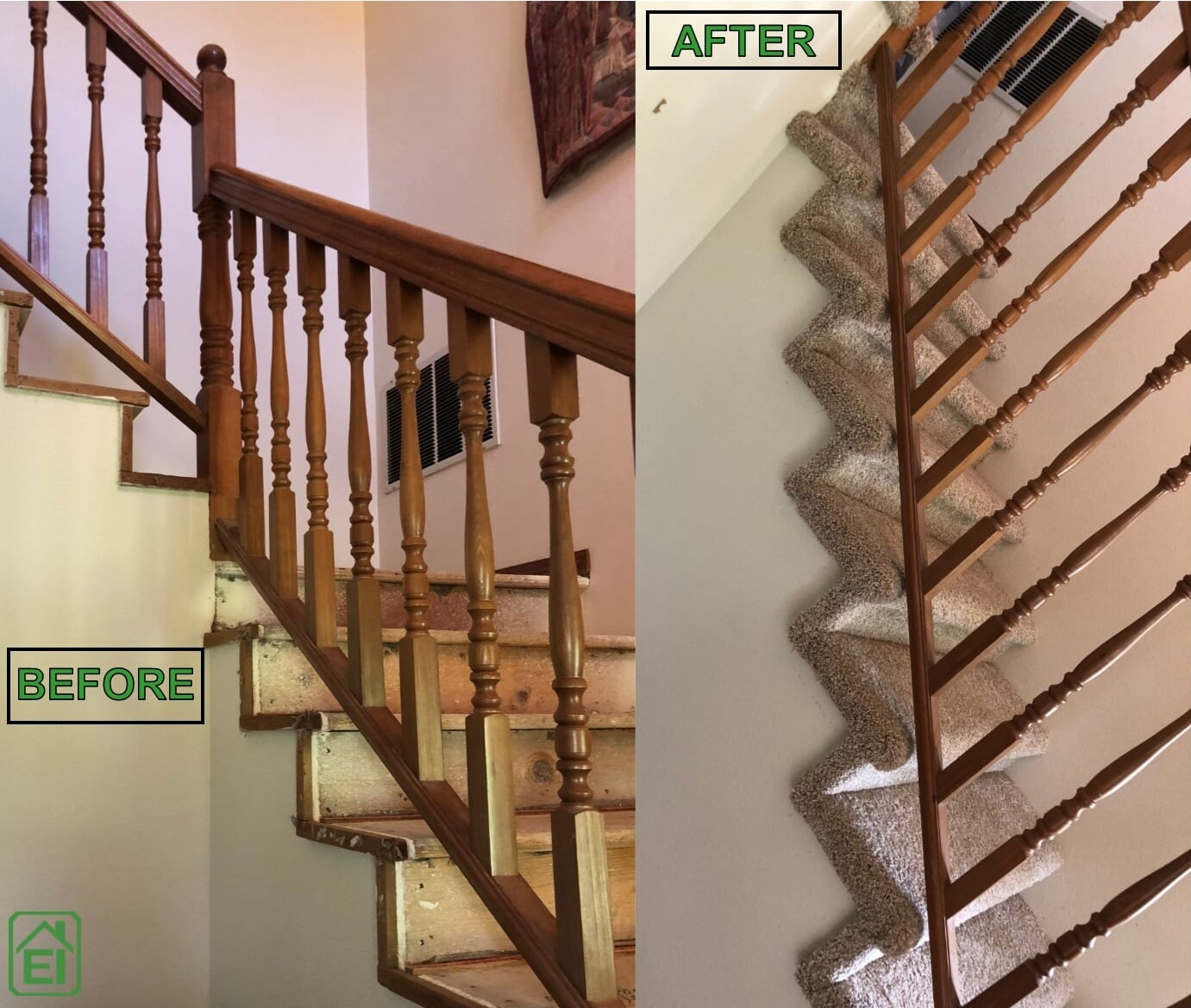Edson Before and After carpet stairs from Emerald Installation in Lakewood, WA