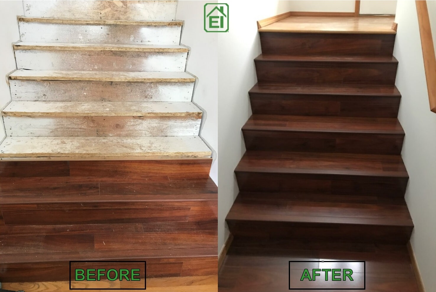 Collings Before and After hardwood stairs from Emerald Installation in Poulsbo, WA