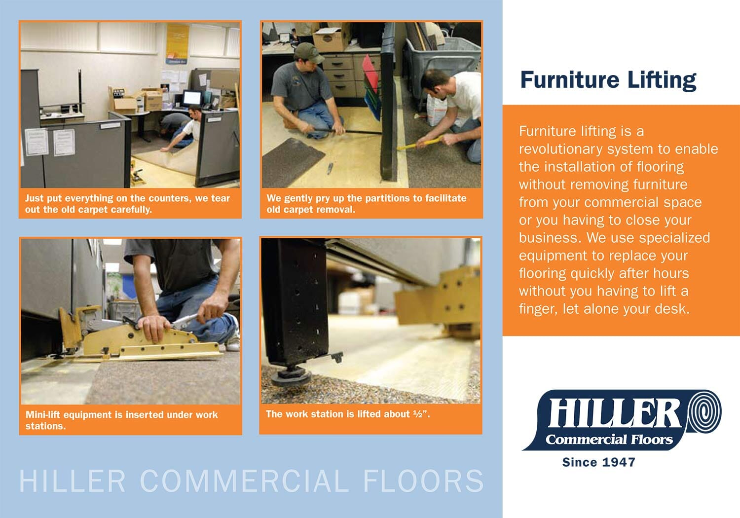 Furniture Lifting from Hiller Commercial Floors