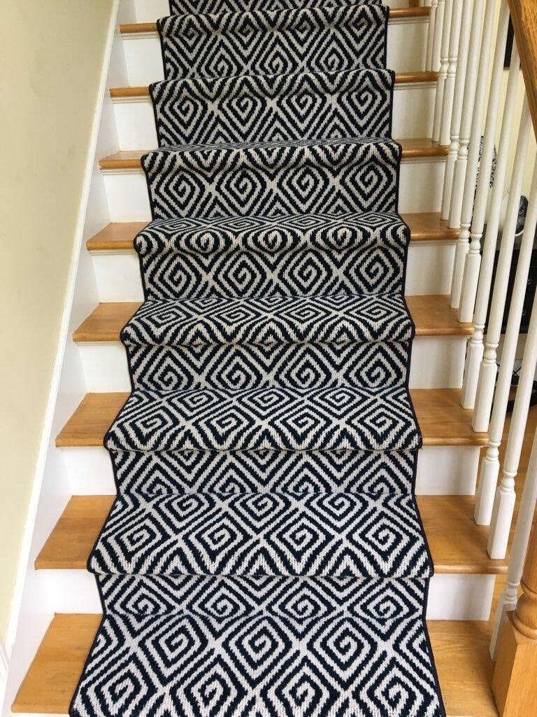 Patterned carpet stair runner in Old Lyme, CT from Westbrook Floor Covering