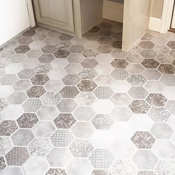 Hexagonal tile flooring in Beaumont, TX from Odile's Fine Flooring & Design