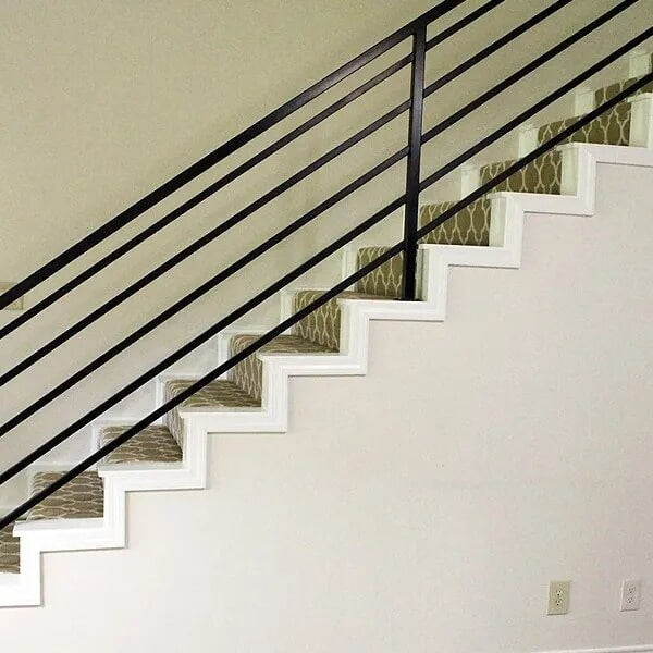 Black stair railing in Sulphur, LA from Odile's Fine Flooring & Design