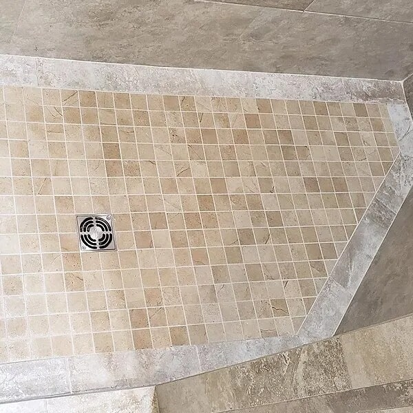 Shower flooring installation in Port Arthur, TX from Odile's Fine Flooring & Design